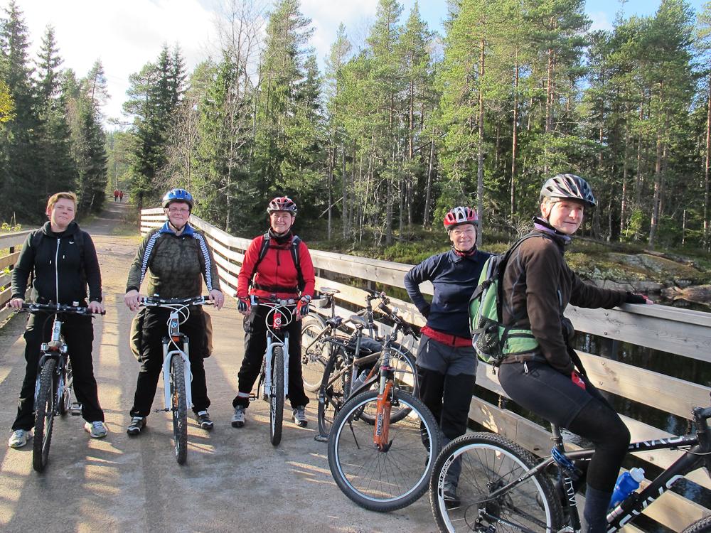 Sykkelpiker på broen. Inger Margrethe, Kari. Anja, Nina og Anne-Lena på broen ved Skjærsjøen.. (Foto: Jorun Jarp)