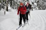 Ida, Anne-Grete og Hanne i fint driv innover i Lillomarka. Foto: Rine G. Carlsen