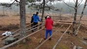 Skjelettet til gapahuken er slanke furustammer. (Foto: Kjersti Nystrøm)